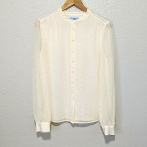 Ivory Blouse with Gold Dots & Sheer Sleeves